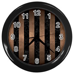 Stripes1 Black Marble & Bronze Metal Wall Clock (black) by trendistuff