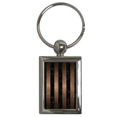 Stripes1 Black Marble & Bronze Metal Key Chain (rectangle) by trendistuff