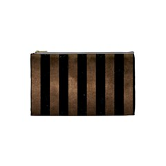Stripes1 Black Marble & Bronze Metal Cosmetic Bag (small) by trendistuff
