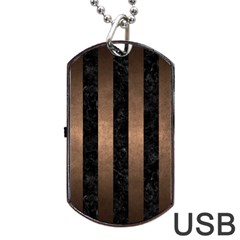 Stripes1 Black Marble & Bronze Metal Dog Tag Usb Flash (two Sides) by trendistuff
