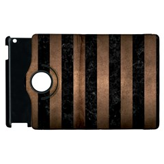 Stripes1 Black Marble & Bronze Metal Apple Ipad 2 Flip 360 Case by trendistuff