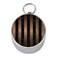 Stripes1 Black Marble & Bronze Metal Silver Compass (mini) by trendistuff