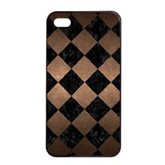 Square2 Black Marble & Bronze Metal Apple Iphone 4/4s Seamless Case (black) by trendistuff