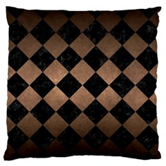 Square2 Black Marble & Bronze Metal Standard Flano Cushion Case (two Sides) by trendistuff