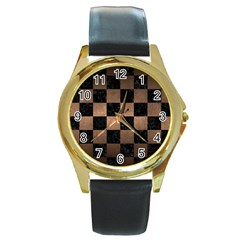 Square1 Black Marble & Bronze Metal Round Gold Metal Watch by trendistuff