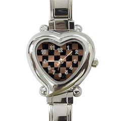 Square1 Black Marble & Bronze Metal Heart Italian Charm Watch by trendistuff
