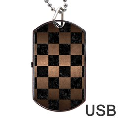 Square1 Black Marble & Bronze Metal Dog Tag Usb Flash (two Sides) by trendistuff