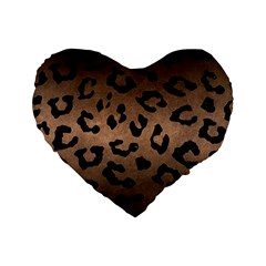 Skin5 Black Marble & Bronze Metal Standard 16  Premium Flano Heart Shape Cushion  by trendistuff