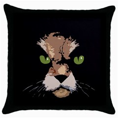 Cat  Throw Pillow Case (black) by Valentinaart