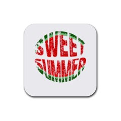 Watermelon   Sweet Summer Rubber Square Coaster (4 Pack)