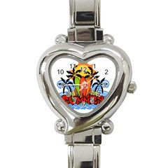 Tropical Summer Heart Italian Charm Watch