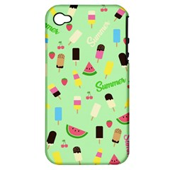Summer Pattern Apple Iphone 4/4s Hardshell Case (pc+silicone) by Valentinaart