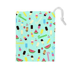 Summer Pattern Drawstring Pouches (large)  by Valentinaart