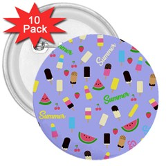 Summer Pattern 3  Buttons (10 Pack)