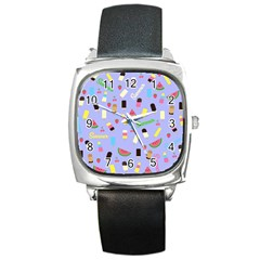 Summer Pattern Square Metal Watch