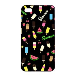Summer Pattern Apple Iphone 4/4s Seamless Case (black) by Valentinaart
