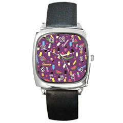 Summer Pattern Square Metal Watch by Valentinaart