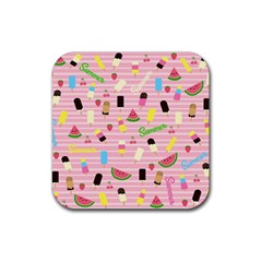 Summer Pattern Rubber Coaster (square)  by Valentinaart