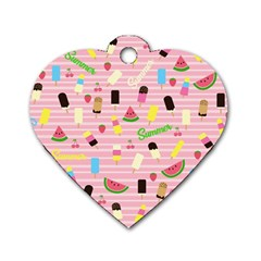 Summer Pattern Dog Tag Heart (two Sides) by Valentinaart