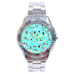 Summer Pattern Stainless Steel Analogue Watch by Valentinaart