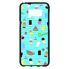 Summer Pattern Samsung Galaxy S8 Plus Black Seamless Case by Valentinaart