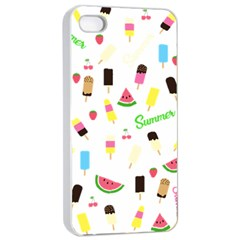 Summer Pattern Apple Iphone 4/4s Seamless Case (white) by Valentinaart