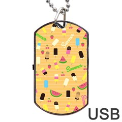 Summer Pattern Dog Tag Usb Flash (one Side)