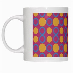 Colorful Geometric Polka Print White Mugs by dflcprints
