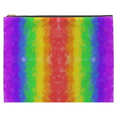 Striped Painted Rainbow Cosmetic Bag (xxxl)