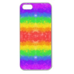 Striped Painted Rainbow Apple Seamless Iphone 5 Case (clear) by Brini