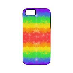 Striped Painted Rainbow Apple Iphone 5 Classic Hardshell Case (pc+silicone) by Brini