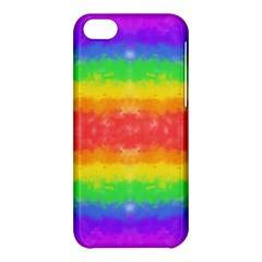 Striped Painted Rainbow Apple Iphone 5c Hardshell Case by Brini