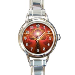 Liquid Sunset, A Beautiful Fractal Burst Of Fiery Colors Round Italian Charm Watch by jayaprime