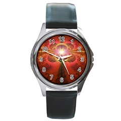 Liquid Sunset, A Beautiful Fractal Burst Of Fiery Colors Round Metal Watch by jayaprime