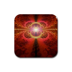 Liquid Sunset, A Beautiful Fractal Burst Of Fiery Colors Rubber Square Coaster (4 Pack)  by jayaprime