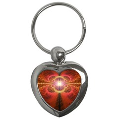 Liquid Sunset, A Beautiful Fractal Burst Of Fiery Colors Key Chains (heart)