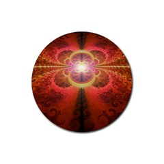 Liquid Sunset, A Beautiful Fractal Burst Of Fiery Colors Rubber Coaster (round)  by jayaprime