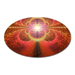 Liquid Sunset, A Beautiful Fractal Burst Of Fiery Colors Oval Magnet