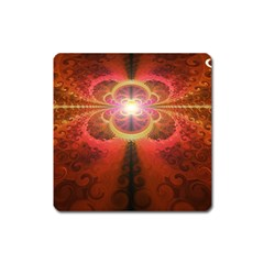 Liquid Sunset, A Beautiful Fractal Burst Of Fiery Colors Square Magnet by jayaprime