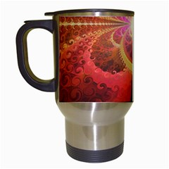 Liquid Sunset, A Beautiful Fractal Burst Of Fiery Colors Travel Mugs (white)
