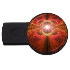 Liquid Sunset, A Beautiful Fractal Burst Of Fiery Colors Usb Flash Drive Round (4 Gb)