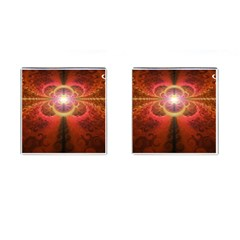 Liquid Sunset, A Beautiful Fractal Burst Of Fiery Colors Cufflinks (square)