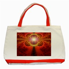 Liquid Sunset, A Beautiful Fractal Burst Of Fiery Colors Classic Tote Bag (red)