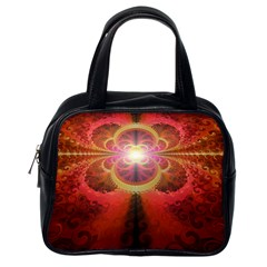 Liquid Sunset, A Beautiful Fractal Burst Of Fiery Colors Classic Handbags (one Side)