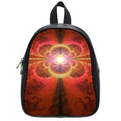 Liquid Sunset, A Beautiful Fractal Burst Of Fiery Colors School Bags (small)