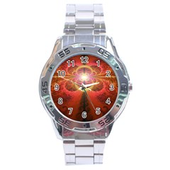 Liquid Sunset, A Beautiful Fractal Burst Of Fiery Colors Stainless Steel Analogue Watch by jayaprime