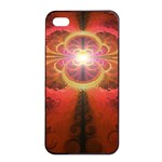 Liquid Sunset, A Beautiful Fractal Burst Of Fiery Colors Apple iPhone 4/4s Seamless Case (Black) Front