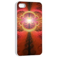 Liquid Sunset, A Beautiful Fractal Burst Of Fiery Colors Apple Iphone 4/4s Seamless Case (white) by jayaprime