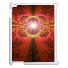 Liquid Sunset, A Beautiful Fractal Burst Of Fiery Colors Apple Ipad 2 Case (white) by jayaprime