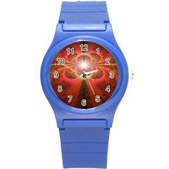 Liquid Sunset, A Beautiful Fractal Burst Of Fiery Colors Round Plastic Sport Watch (s) by jayaprime